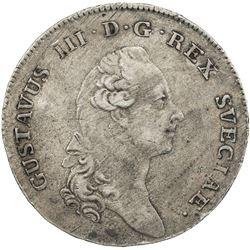 SWEDEN: Gustav III, 1771-1792, AR riksdaler, 1783. VF