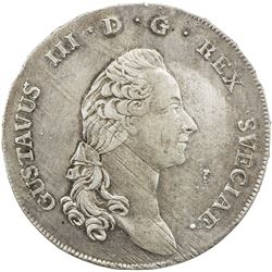 SWEDEN: Gustav III, 1771-1792, AR riksdaler, 1791. EF