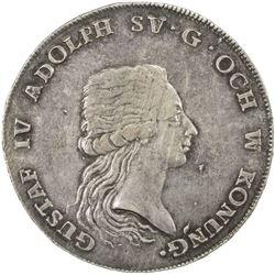 SWEDEN: Gustav IV Adolf, 1792-1809, AR riksdaler, 1794. EF