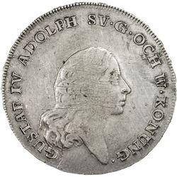 SWEDEN: Gustav IV Adolf, 1792-1809, AR riksdaler, 1796. VF