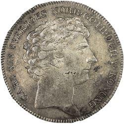 SWEDEN: Carl XIV Johan, 1818-1844, AR riksdaler, 1818. VF