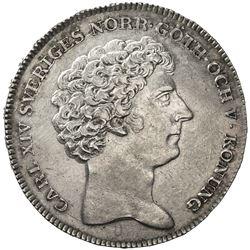 SWEDEN: Carl XIV Johan, 1818-1844, AR riksdaler, 1821. EF