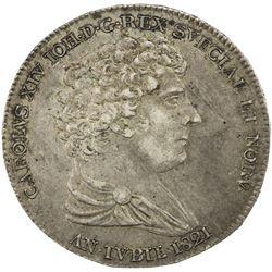 SWEDEN: Carl XIV Johan, 1818-1844, AR riksdaler, 1821. VF-EF