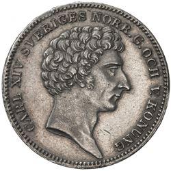 SWEDEN: Carl XIV Johan, 1818-1844, AR 1/3 riksdaler, 1828. EF