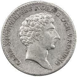 SWEDEN: Carl XIV Johan, 1818-1844, AR 1/6 riksdaler, 1829. VF-EF