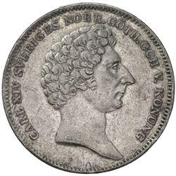 SWEDEN: Carl XIV Johan, 1818-1844, AR 1/2 riksdaler, 1832. VF-EF