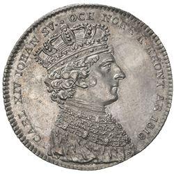 SWEDEN: Carl XIV Johan, 1818-1844, AR 1/3 riksdaler largesse, 1818. AU