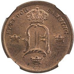 SWEDEN: Oscar I, 1844-1859, AE 1/3 skilling, 1855. NGC MS65
