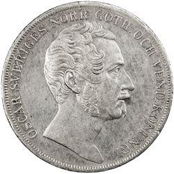 SWEDEN: Oscar I, 1844-1859, AR riksdaler, 1844. VF-EF