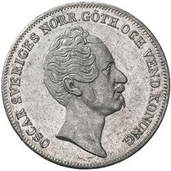 SWEDEN: Oscar I, 1844-1859, AR riksdaler, 1852. EF