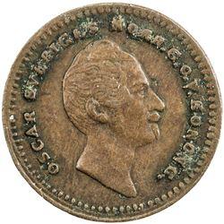 SWEDEN: Oscar I, 1844-1859, AE pattern 1/2 ore, ND (ca. 1854). VF