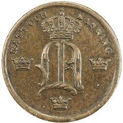 SWEDEN: Oscar I, 1844-1859, AE pattern 1/2 ore, ND (ca. 1854). AU