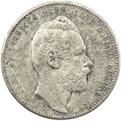 SWEDEN: Carl XV Adolf, 1859-1872, AR riksdaler riksmynt, 1864. VF-EF