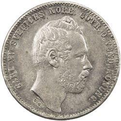 SWEDEN: Carl XV Adolf, 1859-1872, AR riksdaler riksmynt, 1871/61. UNC