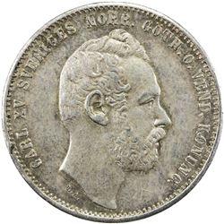 SWEDEN: Carl XV Adolf, 1859-1872, AR riksdaler riksmynt, 1871. EF-AU