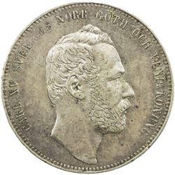 SWEDEN: Carl XV Adolf, 1859-1872, AR riksdaler specie, 1862. EF