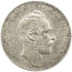 SWEDEN: Carl XV Adolf, 1859-1872, AR riksdaler specie, 1864. EF