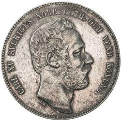 SWEDEN: Carl XV Adolf, 1859-1872, AR riksdaler specie, 1871. EF