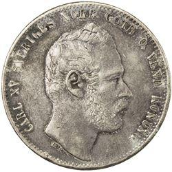 SWEDEN: Carl XV Adolf, 1859-1872, AR 2 riksdaler riksmynt, 1871. VF-EF