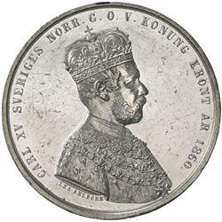 SWEDEN: Carl XV Adolf, 1859-1872, AR 4 mark largesse, 1860. UNC