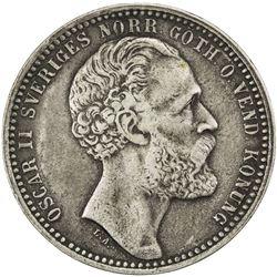 SWEDEN: Oscar II, 1872-1907, AR riksdaler riksmynt, 1873. EF