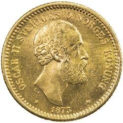 SWEDEN: Oscar II, 1872-1907, AV 10 kronor, 1873. UNC