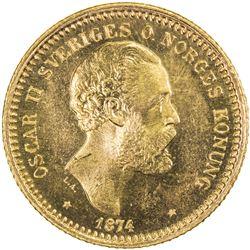 SWEDEN: Oscar II, 1872-1907, AV 10 kronor, 1874. UNC