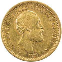 SWEDEN: Oscar II, 1872-1907, AV 10 kronor, 1874/3. EF