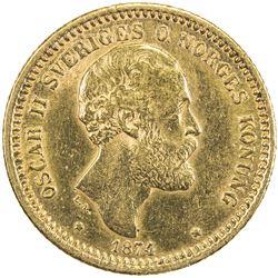 SWEDEN: Oscar II, 1872-1907, AV 10 kronor, 1874. EF