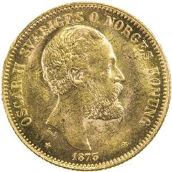 SWEDEN: Oscar II, 1872-1907, AV 20 kronor, 1873. AU