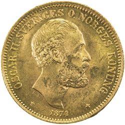 SWEDEN: Oscar II, 1872-1907, AV 20 kronor, 1874. UNC