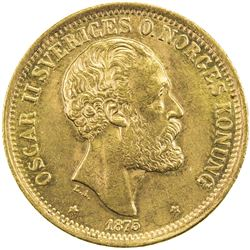 SWEDEN: Oscar II, 1872-1907, AV 20 kronor, 1875. AU