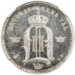 SWEDEN: Oscar II, 1872-1907, AR 50 ore, 1878. NGC PF66