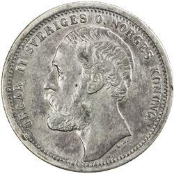 SWEDEN: Oscar II, 1872-1907, AR krona, 1875. EF