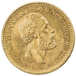 SWEDEN: Oscar II, 1872-1907, AV 10 kronor, 1876. AU
