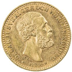 SWEDEN: Oscar II, 1872-1907, AV 10 kronor, 1880. EF