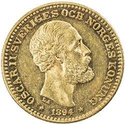 SWEDEN: Oscar II, 1872-1907, AV 10 kronor, 1894. EF