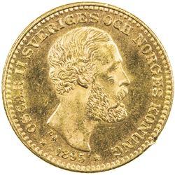 SWEDEN: Oscar II, 1872-1907, AV 10 kronor, 1895. AU