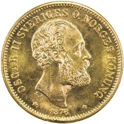 SWEDEN: Oscar II, 1872-1907, AV 20 kronor, 1876. UNC