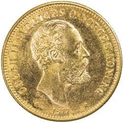 SWEDEN: Oscar II, 1872-1907, AV 20 kronor, 1877. UNC