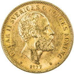 SWEDEN: Oscar II, 1872-1907, AV 20 kronor, 1877. AU
