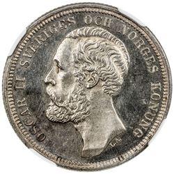 SWEDEN: Oscar II, 1872-1907, AR krona, 1884, proof, NGC PF64 Cameo