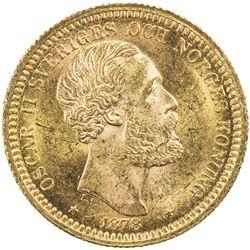 SWEDEN: Oscar II, 1872-1907, AV 20 kronor, 1878/7. UNC