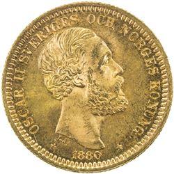 SWEDEN: Oscar II, 1872-1907, AV 20 kronor, 1880. UNC