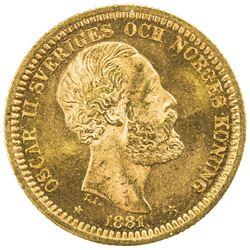 SWEDEN: Oscar II, 1872-1907, AV 20 kronor, 1881. UNC