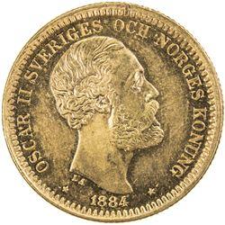 SWEDEN: Oscar II, 1872-1907, AV 20 kronor, 1884. UNC