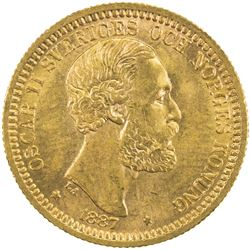 SWEDEN: Oscar II, 1872-1907, AV 20 kronor, 1887. UNC