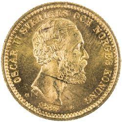 SWEDEN: Oscar II, 1872-1907, AV 20 kronor, 1889. UNC