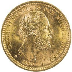 SWEDEN: Oscar II, 1872-1907, AV 20 kronor, 1890. UNC