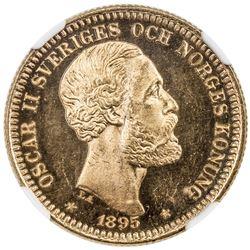 SWEDEN: Oscar II, 1872-1907, AV 20 kronor, 1895. NGC MS65